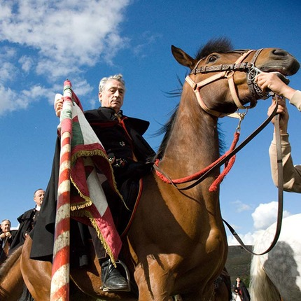Fiesta de La Caballada in Atienza, province of Guadalajara. Festivity of National Tourist Interest. It commemorates the charge of muleteers in Atienza, 1162, that saved king of Castilla Alfonso VIII from falling into the hands of his uncle / Jesús de los Reyes.