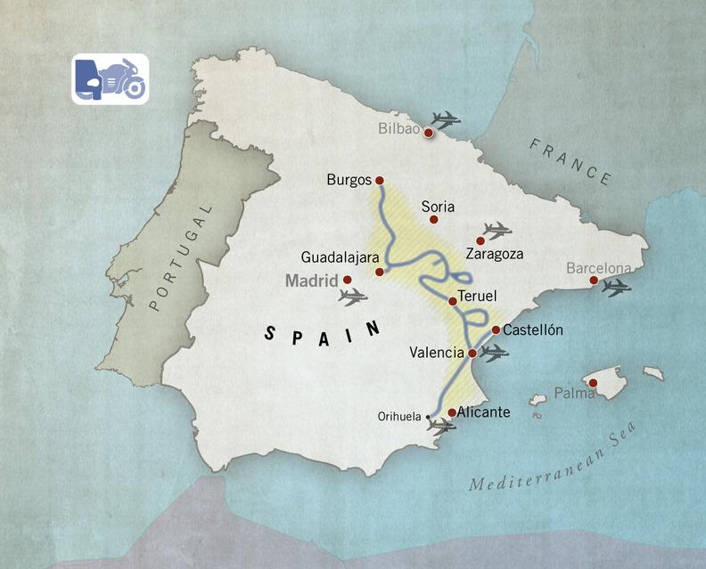 Car, vans and motorbike route Camino del Cid, Spain