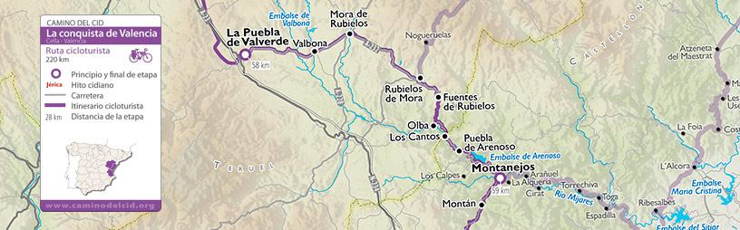 Cabecera del mapa de la Conquista de Valencia Cicloturismo