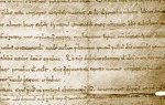 El Cid's charter of donation to the Cathedral of Valencia (1098): his signature 'Ego Ruderico' is shown below.  Ego Ruderico in Latin means 'I, Rodrigo'.