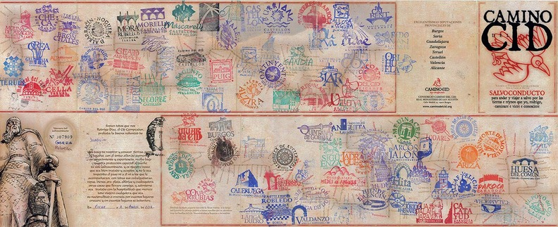 The Letter of Safe Conduct is the credential that features the stamps of the various towns travellers pass through.